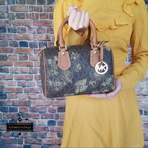 a0e43d2216d9 Michael Kors Bags | Aria Small Satchel Brown Acorn Floral | Poshmark